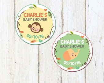 Personalized Jungle Baby Shower Printable Circles, Tags, Personalized Party Tags, Shower Tags *Digital File OR Printed 4 You*- Custom