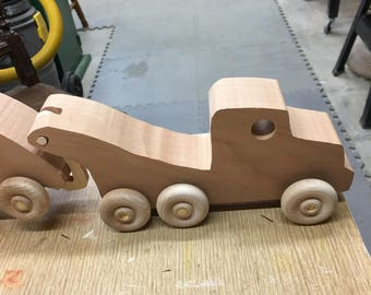 Wood Toy Wood  Tow Truck