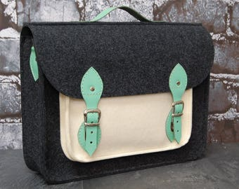 Laptop bag, felt laptop bag with leather straps, messenger, shoulder bag, crossbody bag