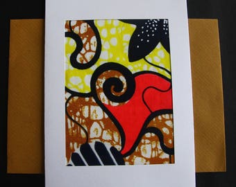 African print fabric greeting card on superior recycled card