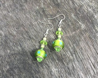 Green Murano Glass Bottle Drop Earrings, Potion Bottle Earrings, Dangle Earrings, Murano Glass Earrings, Murano Lampwork Earrings