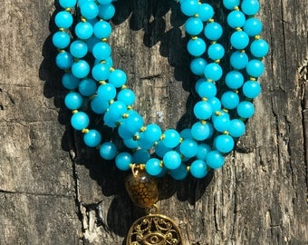 Turquoise Mala with 108 semi precius gemstones
