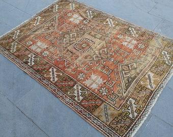 """Turkish Rug, Vintage Handmade Oushak Area Rug, Anatolia Wool Home Decor Red Rug Carpet, Vintage Decorative Wool Oushak Area Rug, 67""""x49"""""""