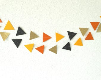 Orange, Black And Glittery Gold Triangle Garland - Orange And Black Wedding Decor - Garden Party Decorations - Halloween Decor