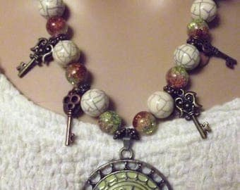 Hand made beaded necklace and earrings set - White burnt orange Green - with metal Bronze Keys 20 inches