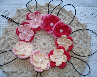 Crochet Pink Flower Hair Ties for Toddlers and kids, Handmade Ponytail Holder, Gift for Young Girls, Cotton Hair Accessories