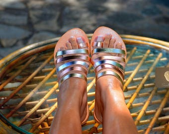 Greek leather sandals, Greek handmade leather sandals, Gold women sandals, Summer strappy sandals, KALLISTO