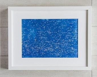Star Map Cyanotype Print