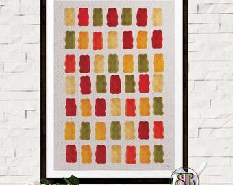 Food Print - Gummy Bear Poster - Kitchen Wall Decor - Pattern Print - Jelly Poster - Gummy Bear Art - Minimal Home Decor - Food Wall Print
