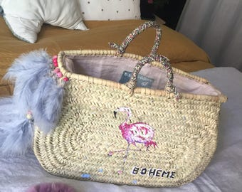 Basket Flamingo Pink boho chic