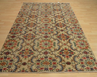 Anatolian authentic vintage carpet flowers back F40557, free shipping worldwide, 165 x 260 cm/6.69 x 8.53 ft