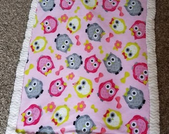 Pretty in Pink Owl Blanket