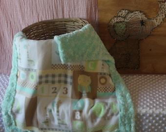 Neutral Owl, Elephant, 1 2 3 Baby Blanket