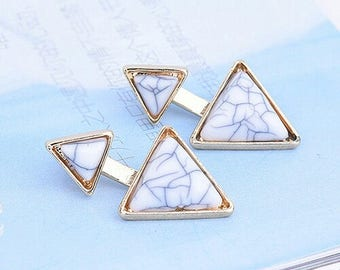 Earring White Triangle