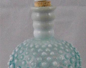 VICTORIAN PERFUME BOTTLE, Opalescent Hob Pattern on Blue Glass