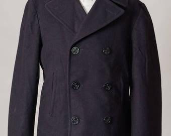 Vintage 1960's USN US Navy Peacoat Military Navy 100% Wool