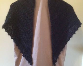 Black Hand Knitted Shawlette