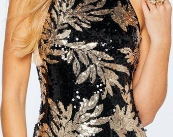 Dress sequin black v-neck Halter