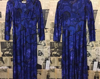 Original 1960s City Swingers Psychedelic Maxi Dress in Indigo Blue Approx Size UK 10