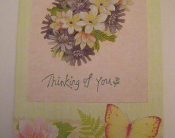 Floral thinking of you blank card