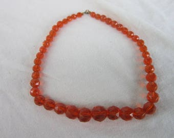 Antique Faceted Cut Crystal Graduated Beaded Necklace Awesome Orange