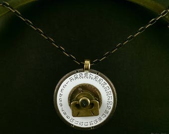 Steampunk necklace with old clock's calendar.