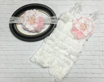 White & Pink Vintage Floral Lace  Headband and Lace Petti Romper 2 Pc Birthday Set Cake Smash Picture Outfit Infant Toddler
