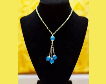 Lariat Long Beadede Necklac/Blue Glass beads Linked Necklace