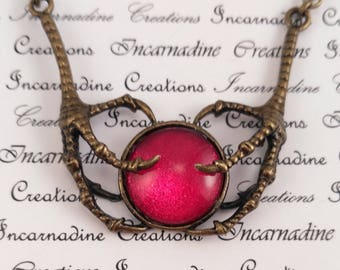 Bronze and red handpainted glass bird claws necklace