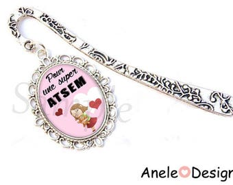 Bookmark book jewelry - gift for ATSEM - pink silver white