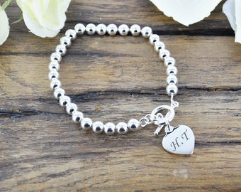 Personalised Heart Silver Plated Bead Bracelet