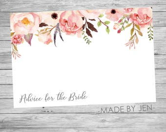 Advice for the Bride, Floral, Wedding, Party, Pink and Gold,  DIGITAL FILE