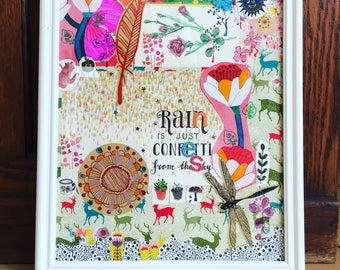"""Collage """"Rain is just confetti from the sky"""" framed in white wood"""