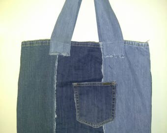 Upcycled denim tote , market tote, carry-all, purse.