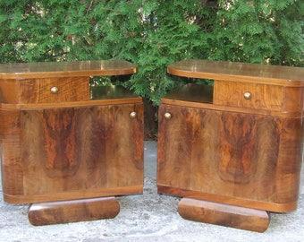 Art Deco Nightstands, Pair. Art Deco Bedside Cabinets. Vintage 1920s Art Deco.