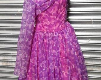 Vintage Perfection,1950s floaty chiffon occasion dress with attached drape scarf