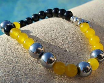 Semi precious stones bracelet - handmade - single