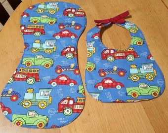 cars and trucks bib and burp cloth