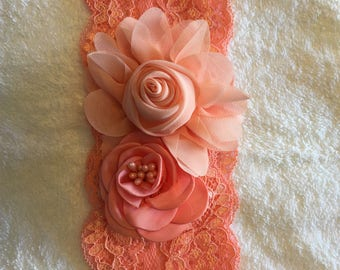 Toddler/Child Peach Lace Floral Headband