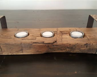 Reclaimed Barn Beam 3 Candle Holder with Metal Handles