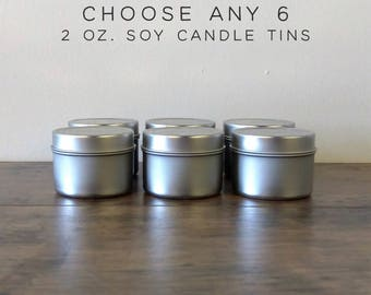 Choose Any 6 Soy Candles Sampler Pack, 2 oz Mini Soy Candle Tins, Scented Soy Wax Candles, Soy Candles Handmade, Wedding Favor Candles
