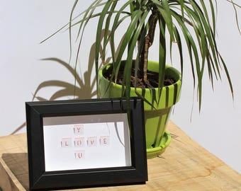 "Framework Scrabble ""LOVE YOU"" PaperArt handmade Art modern 10 * 15cm"