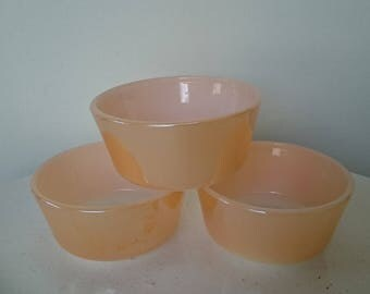 Fire King / Anchor Hocking . Peach lustre custard cups straight sided.