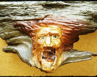 Hand Carved Wood Spirit / Pine Knot Wood Carving