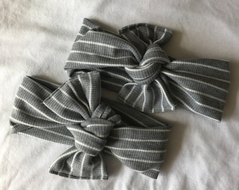 Gray+White stripe headwrap
