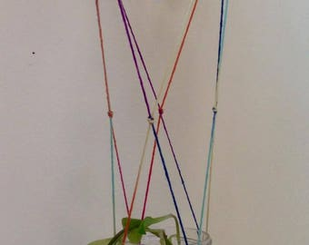 Rainbow Macrame plant rooter + crystal