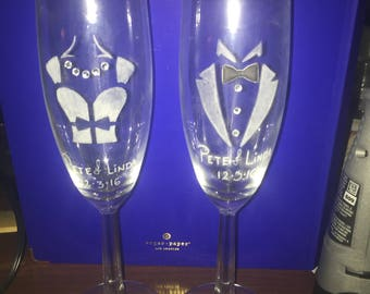 1 Set of 2 Customized Wedding Flutes (his and hers)