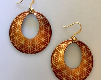 Golden Flower of Life Hoop Earrings--Flower of Life Jewelry-Sacred Geometry-Yoga Jewelry-Spiritual Gifts for Her-Seed of Life Earrings