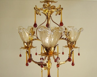 Vintage French Chandelier Light Fixture with Amber Teardrops