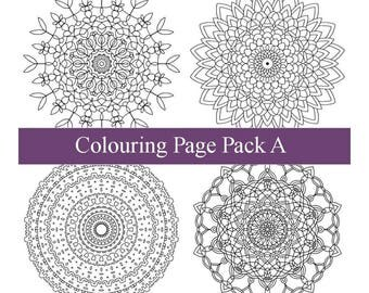 Four Adult Colouring Pages - PDF Printable Drawings - Intricate Mandala Art - Pack A - Pages 1 to 4 - Instant Downloads